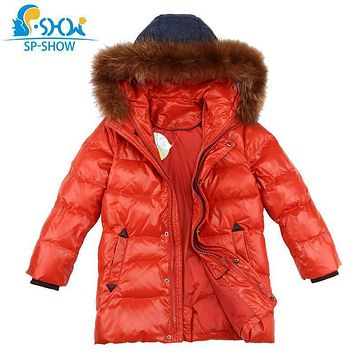 SP-SHOW Winter Children Outwear Hooded Luxury Brand Boys Jacket With Fur Hood Warm Jacket For 4-9 Age Russian Style Coats 85013