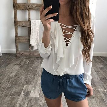 Vintage Ruffles Lace Shirts Sexy Tops