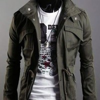 Autumn Style Pockets Decorated Cotton Male Jacket Army Green M/L/XL @S5-255-1ag $34.45 only in eFexcity.com.