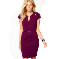 Plus Size Summer Casual Solid Color Back Zipper Short Sleeve Hollow Out Women Business Sheath Bodycon Dress Wear To Work E593