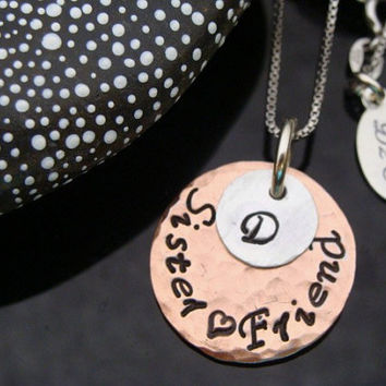 "SALE D2E personalized engraved hand stamped hammered ""Sister Friend"" recycled lucky penny with overlapping sterling monogram necklace"