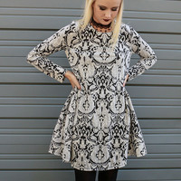 Grand Ball Textured Damask Print Tent Dress