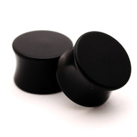 Pair of Black Acrylic Double Flare Plugs set expanders gauges lot Choose Size