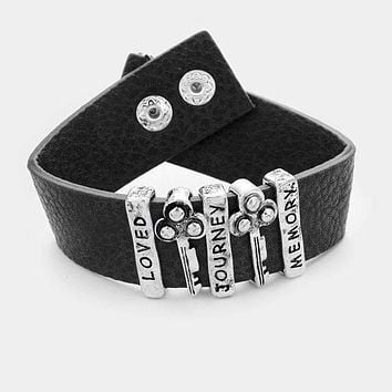 """Loved Journey Memory"" Key Lock Detail Faux Leather Bracelet"
