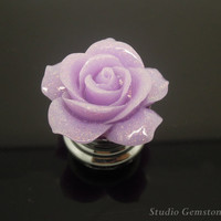 1PC Jewelry Quality Bling Rein Purple Rose Flower Drawer Pulls Knobs Finial-30mm, Gemstone Furniture Accessary