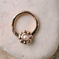 SEPTUM RING 14 gauge 14K Gold filled with 5mm flower and 2mm white pearl. Handcrafted