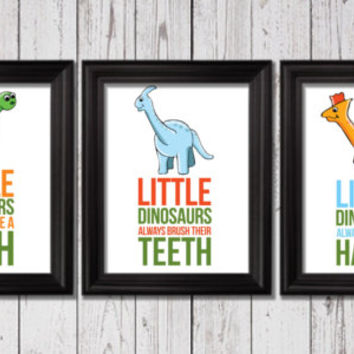 Little dinosaurs bathroom rules, dinosaurs Decor, Word Art, Kids Wall Art, Dinosaurs Bathroom decor, Bathroom rules art, bathroom prints
