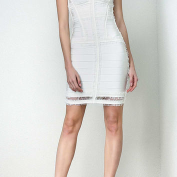 White Tulle Cutout Bandage Dress