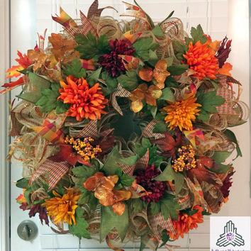 Fall/Autumn Floral Ruffle Faux Burlap Jute Deco Mesh Wreath
