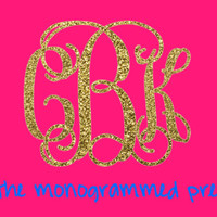 Glitter Monogram Car Decal Sticker Gold or Silver Glitter