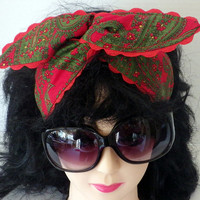 Psychedelic 70s Paisley Print Pinup Style HeadBand with Ric-Rac
