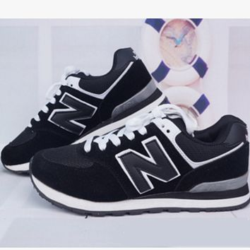 New balance abric is breathable n leisure sports shoes women's shoes Couples forrest gump students running Black
