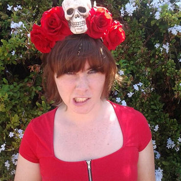 Day of the dead, Rose crown, Flower crown, Skull, Red rose crown, skull headband, red rose, headband