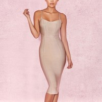 Sleeveless Criss Cross Bandage Dress - Nude