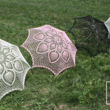 """48"""" UMBRELLA PARASOL Lace Crochet ,Steampunk, Goth, Mothers Day Wedding, Summer Party Favor- pick your color"""