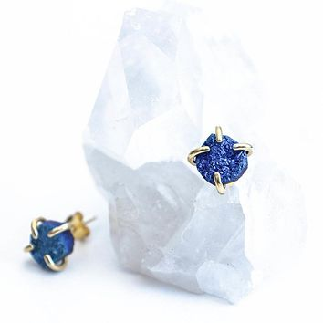 JaxKelly - Peacock Druzy Prong Earrings