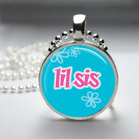 Photo Art Glass Bezel Pendant Little Sister Necklace