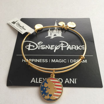 Disney Alex and Ani Parks Mickey Mouse Flag Bangle Gold Finish New Tags