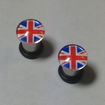 Union Jack Picture Plugs & Earrings 14g-00g