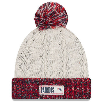 Women's New Era Cream New England Patriots Rugged Tag Cuffed Knit Hat with Pom