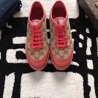 GUCCI Women Fashion Embroidery Casual Sneakers Sports Shoes Brow Red