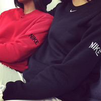 love-q168 NIKE Couples hook embroidery and loose big yards velvet collar fleece men and women