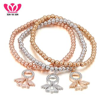 Crystal Angel Fairy Charms Bracelets For Women Best Friend Mix Colors Gold Beads Bracelet Elastic Chain Jewelry Christmas Gifts