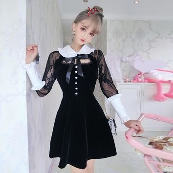 Sexy Velvet Dresses Women Black Lace Ruffles Long Sleeves Retro Ghthic Hollow Out Peter Pan Collar Lolita Dress