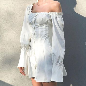 Fashionable Women Pure White Off Shoulder Hubble-Bubble Sleeve Dress