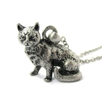 Realistic Short Hair Tabby Cat Shaped Animal Pendant Necklace in Silver | Jewelry for Cat Lovers