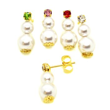 (1-1040-h10) Gold Overlay Pearl Earrings with Crystal Accent.