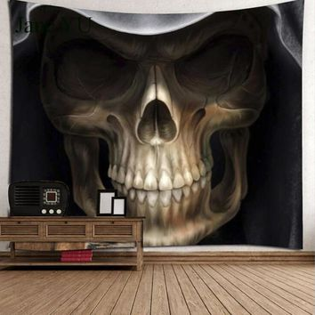 JaneYU Tapestry cartoon horror skull beach towel sitting blanket