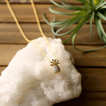 Dainty Crystal Pineapple Necklace