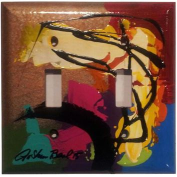 Hand Painted #11 Double Light Switch Cover