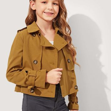 Girls Double Breasted Short Trench Coat