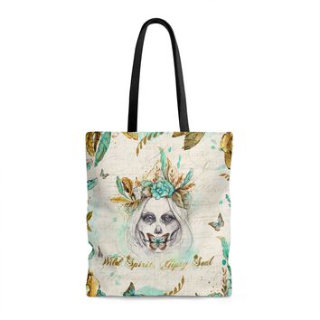 BOHO WILD SPIRIT GYPSY SOUL MINT & GOLD * Unique Halloween Gift * High Quality Tote Bag