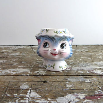 Lefton Miss Priss Egg Cup Kitty Egg Cup Lefton Kitty Easter Egg Cup Easter Decor