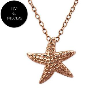 Solid 925 Sterling Silver + 14K Rose Gold Plated Plain Starfish Necklaces