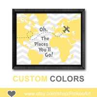 yellow grey oh the place you'll go baby room decor motivational baby gift gift for new parents dr seuss quotes kids nursery poster map print