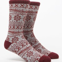 On The Byas Henna Art Crew Socks - Mens Socks - Grey/Red - One