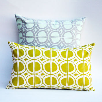 Avocado - organic hand printed, mid-century pillow