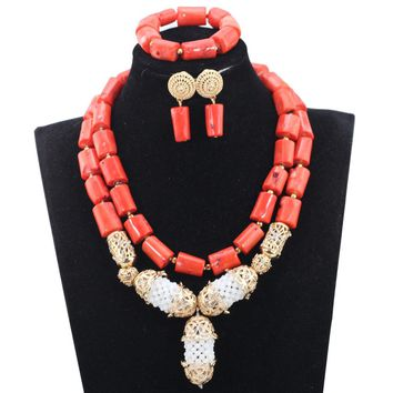 New Real Coral Bridal Beads Jewelry Set Indian Wedding Gold Necklace Earrings Set Gold Jewelry Set for African Wedding ABH486