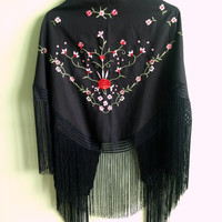 Vintage Spanish Shawl Wrap in Black, Red, Green and Pink, Fringe Scarf, Embroidery Kimono, Flamenco Floral Tassel Cover Up, Boho Fashion