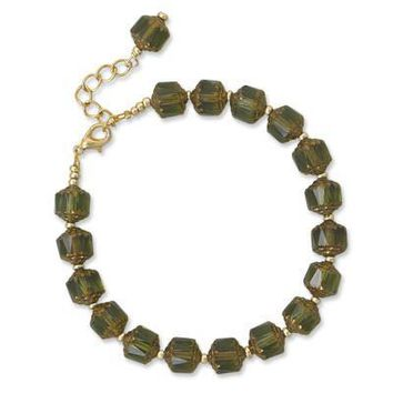 "7""+1"" Green Glass Fashion Bracelet"