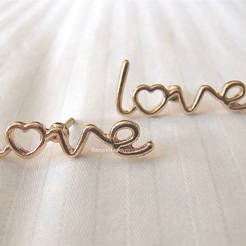 LOVE Earrings - Gold; cute and simple LOVE stud earrings; minimalist studs; gold love, golden love, love letters