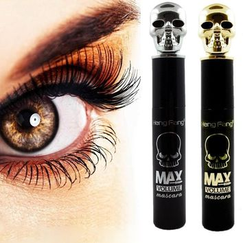 Cosmetic Skull Shape Lengthen Black Eye Mascara Long Eyelash Curling Thick 3D Fiber Lashes Rimel Mascara Waterproof  Eyes Makeup