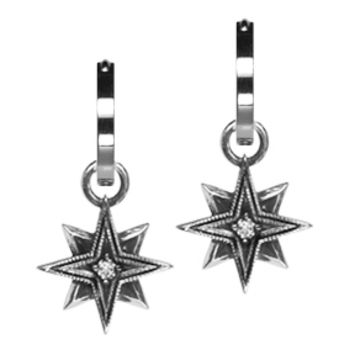 Sterling Silver Diamond Starburst Earring Charms
