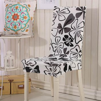 Spandex Stretch Dining Chairs Cover Flower Printing Removable Chair Covers Elastic Brief Big Swing Dining Stretch Chair Covers