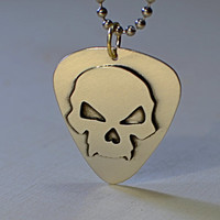 Skull guitar pick in sterling silver handmade for a bad ass guitarist