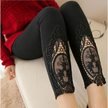 4 Color Lace Perspective Pencil Pants Embroidery Leggings Women's clothing [9221628804]